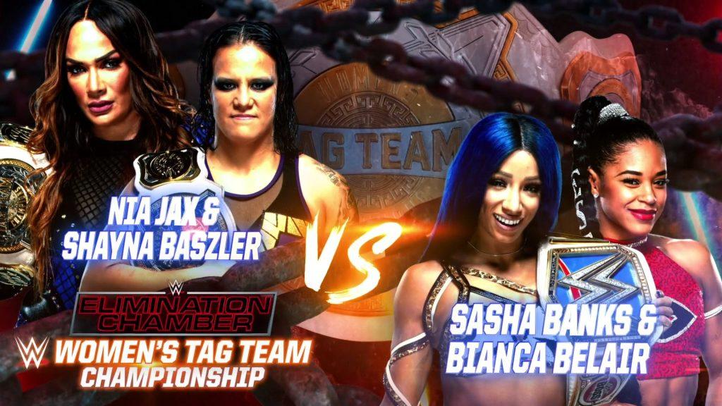 Shayna Baszler y Nia Jax vs. Sasha Banks y Bianca Belair en Elimination Chamber 2021