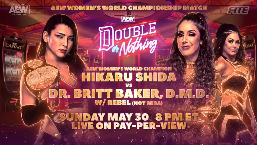 Hikaru Shida defenderá el Campeonato Femenino de AEW ante Britt Baker en Double or Nothing 2021
