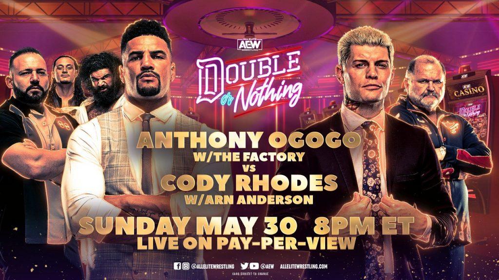Cody Rhodes y Anthony Ogogo se enfrentarán en AEW Double or Nothing