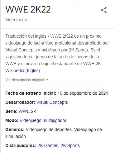 Posible fecha de lanzamiento para WWE 2K22